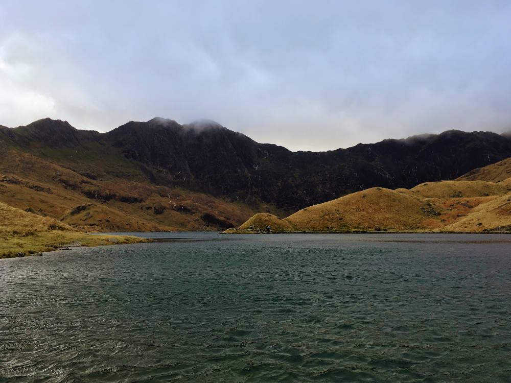 Mount Snowdon view across Lyn Llydaw