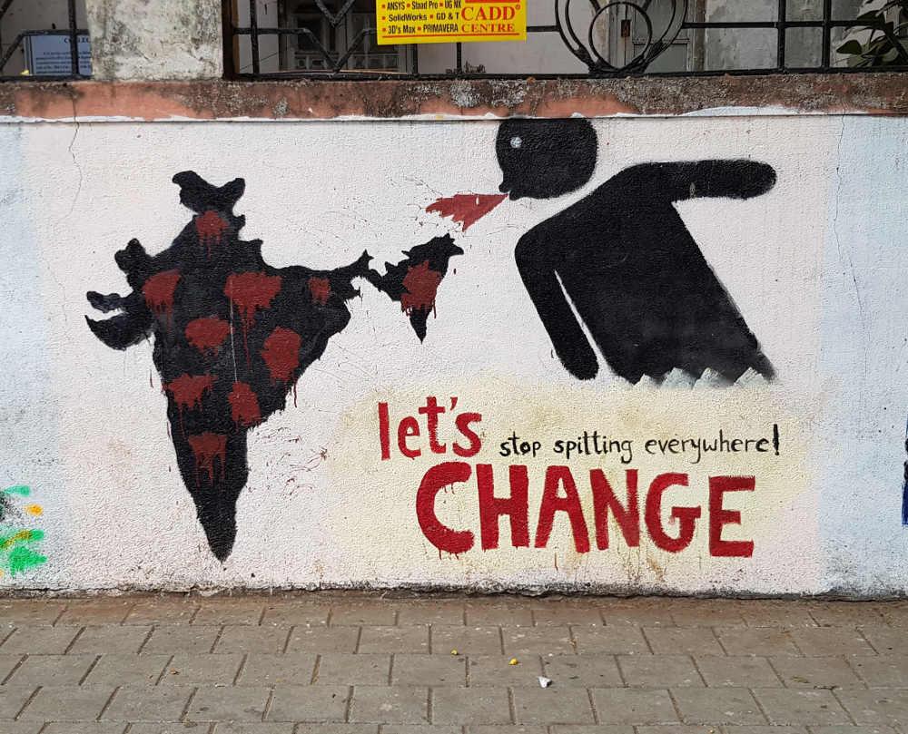 Stop spitting propaganda grafitti in Mumbai
