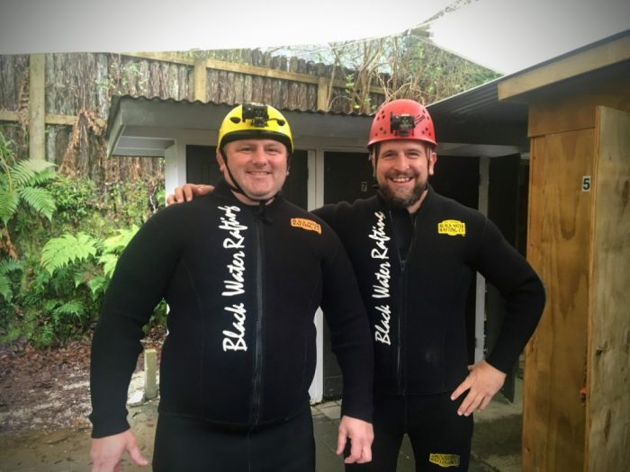Waitomo Caves wetsuits on